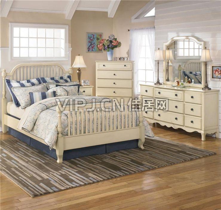 白色超时尚欧式卧室家具套装