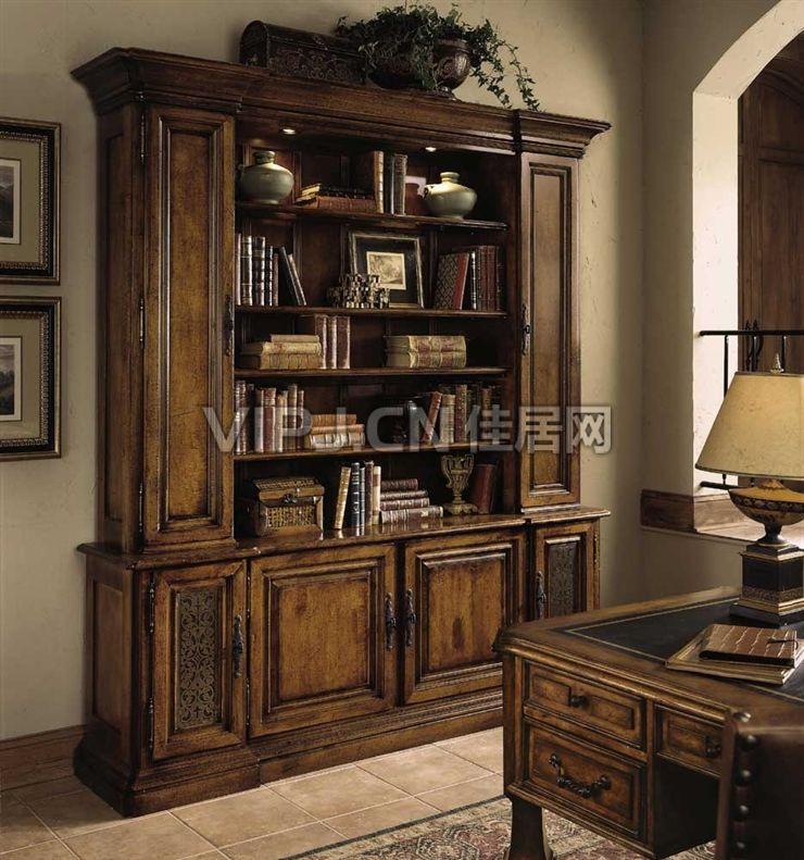 欧式书房书柜-书架图片