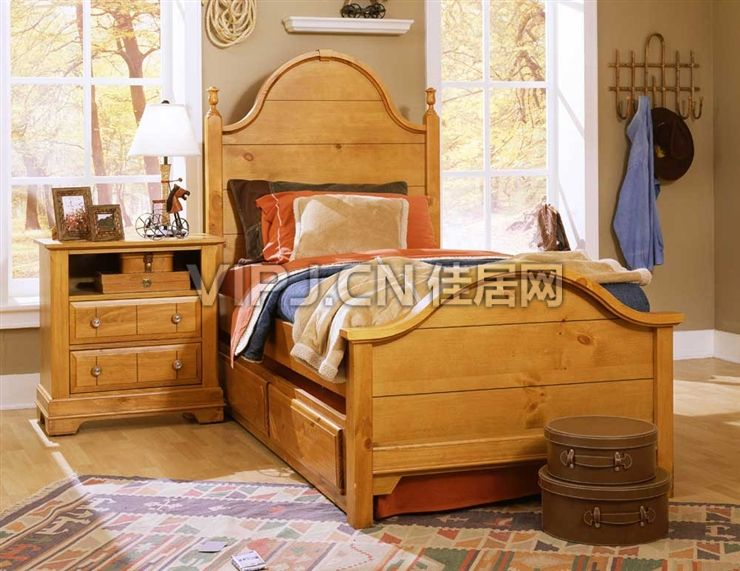 美式卧室床图片