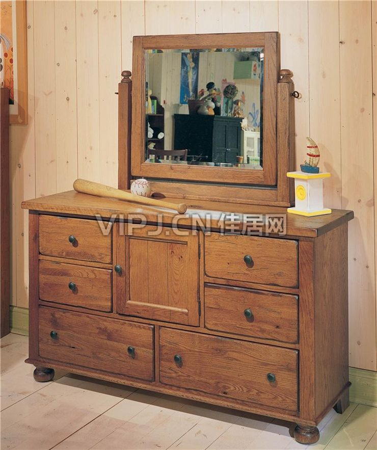 美式卧室梳妆台-镜图片