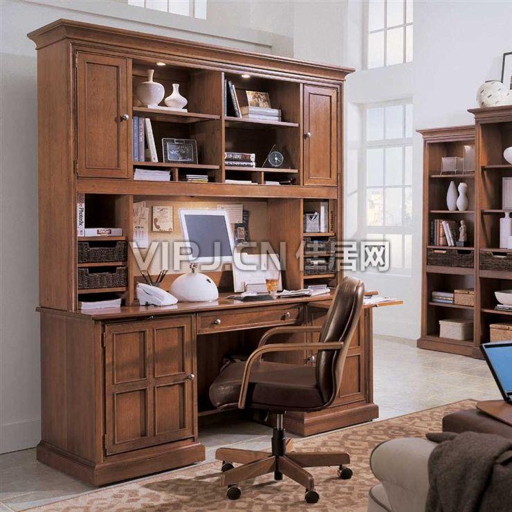 美式书房书柜-书架图片