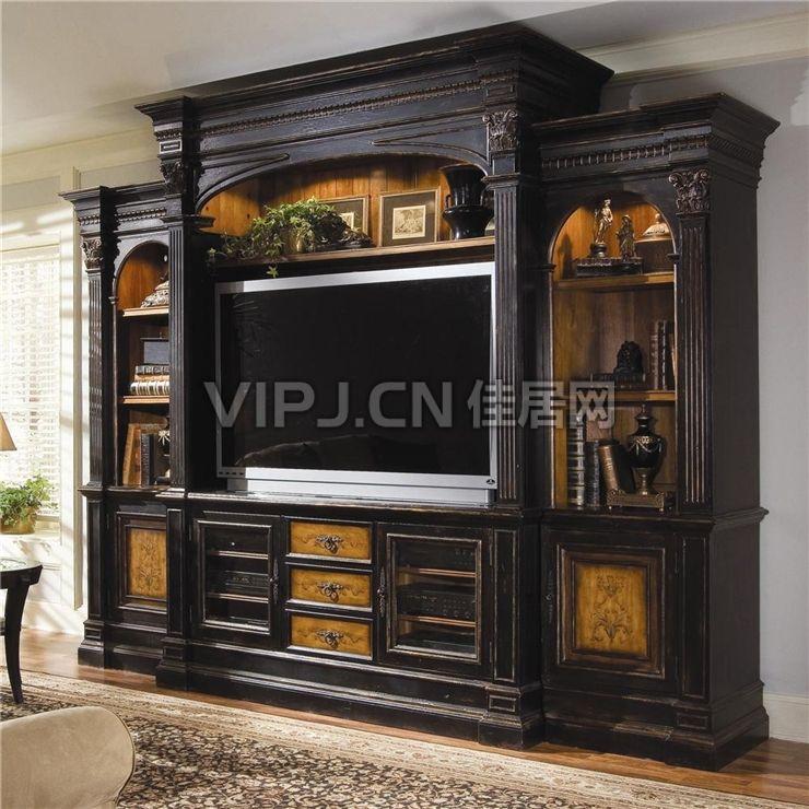 卧室电视柜隔断装修设计效果图   现代简欧式卧室入墙式衣柜